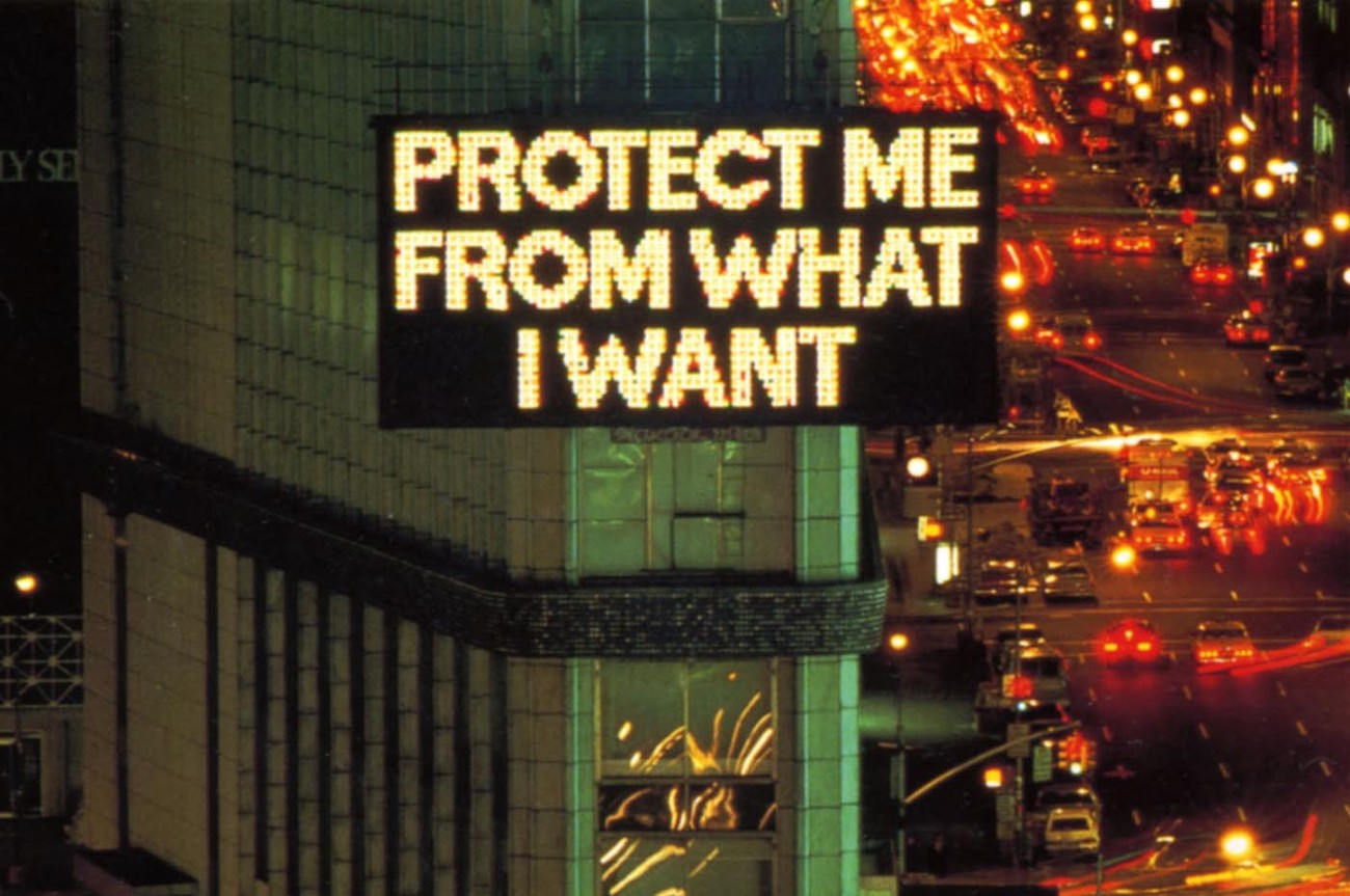 Picture of words protect me from what I want on a advertising display