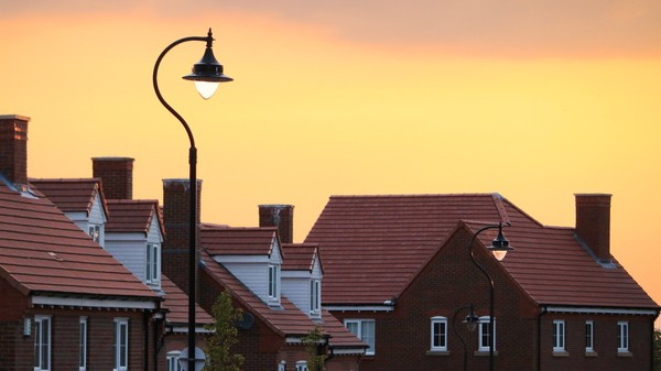 Houses in sunset