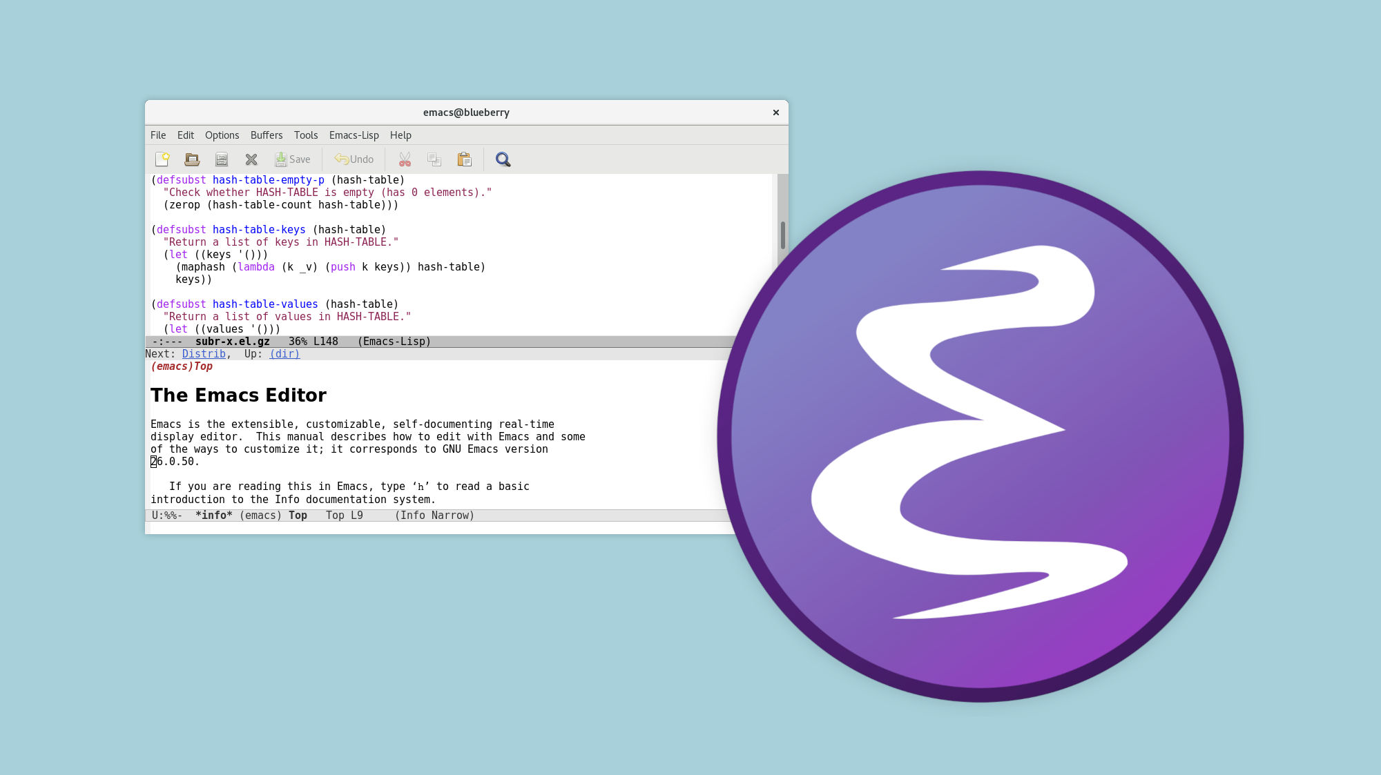 Screenshot of Emacs